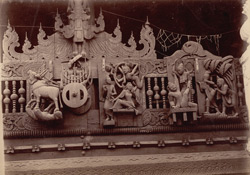 [Carvings on the Chinese temple at Bhamo.]
